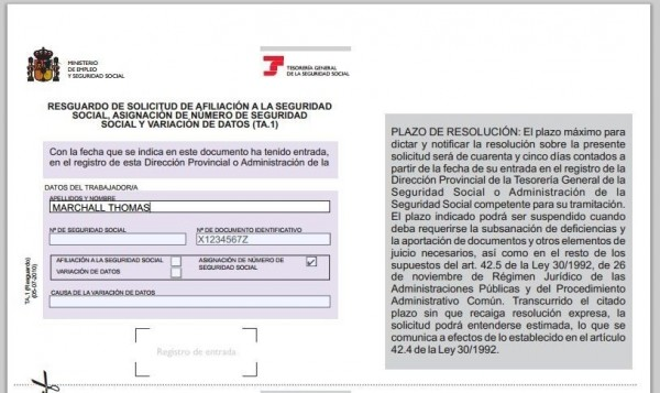 Social Security Number in Spain
